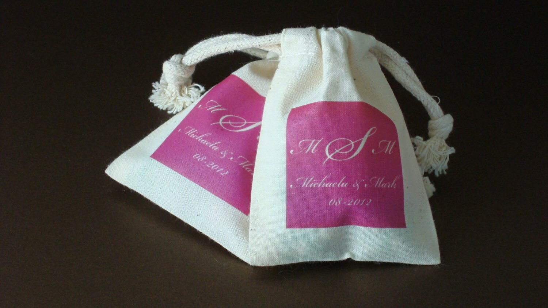 Color Block SMALL Muslin Bag Wedding Favor Bag Bridal Shower