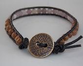 Black Leather Wrap Bracelet with Lilac Quartz & Wood Robles: leather wrap bracelet, leather bracelet, beaded bracelet, quartz bracelet, wood