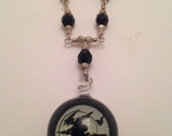 Sterling Silver Necklace with Glass Witch Pendant