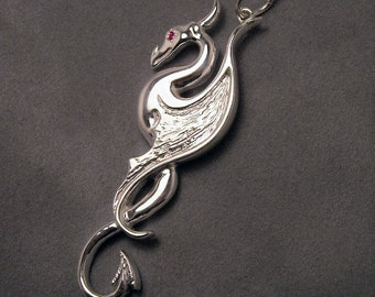 Dragon pendant with ruby eye - Sterling silver