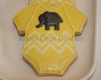 1 Doz Baby Onesie Decorated Cookies w/Elephant - Baby Shower Favor