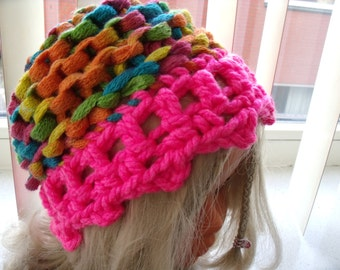 knitted/crochet-colored hat for a very small girl (0-2 years)