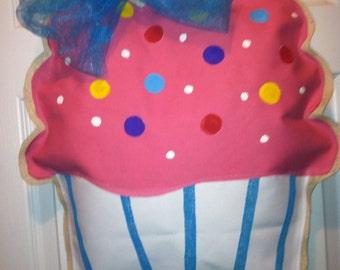 Fabric and burlap Cupcake Door hanger