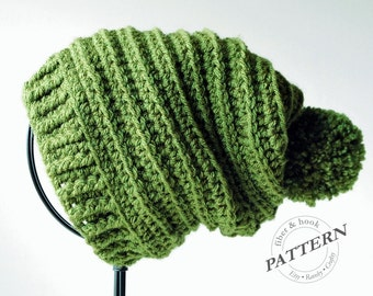 CROCHET PATTERN - Ridge Slouch Hat, Pom-Pom Slouchy Beanie, Ribbed Brim, Intermediate Crochet (Toddler, Youth, Adult Sizes) pdf #024H
