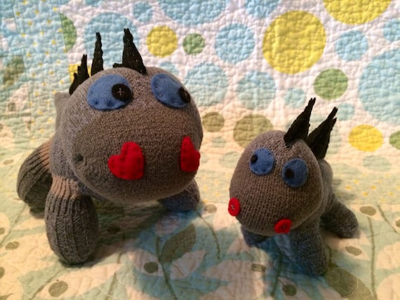 Handmade sock animal - stuffed animal - big brother - little brother dinosaurs