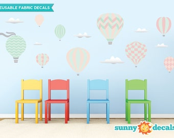 Hot Air Balloons Fabric Wall Decals with 9 Hot Air Balloons and 6 Clouds - Pastel- Standard Sized - Available in 5 Color Options and 2 Sizes
