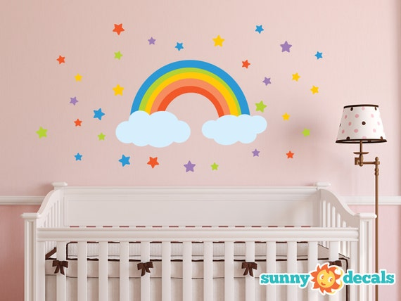 rainbow fabric wall decal rainbow wall sticker with stars and wall art sticker decal full colour rainbow clouds red