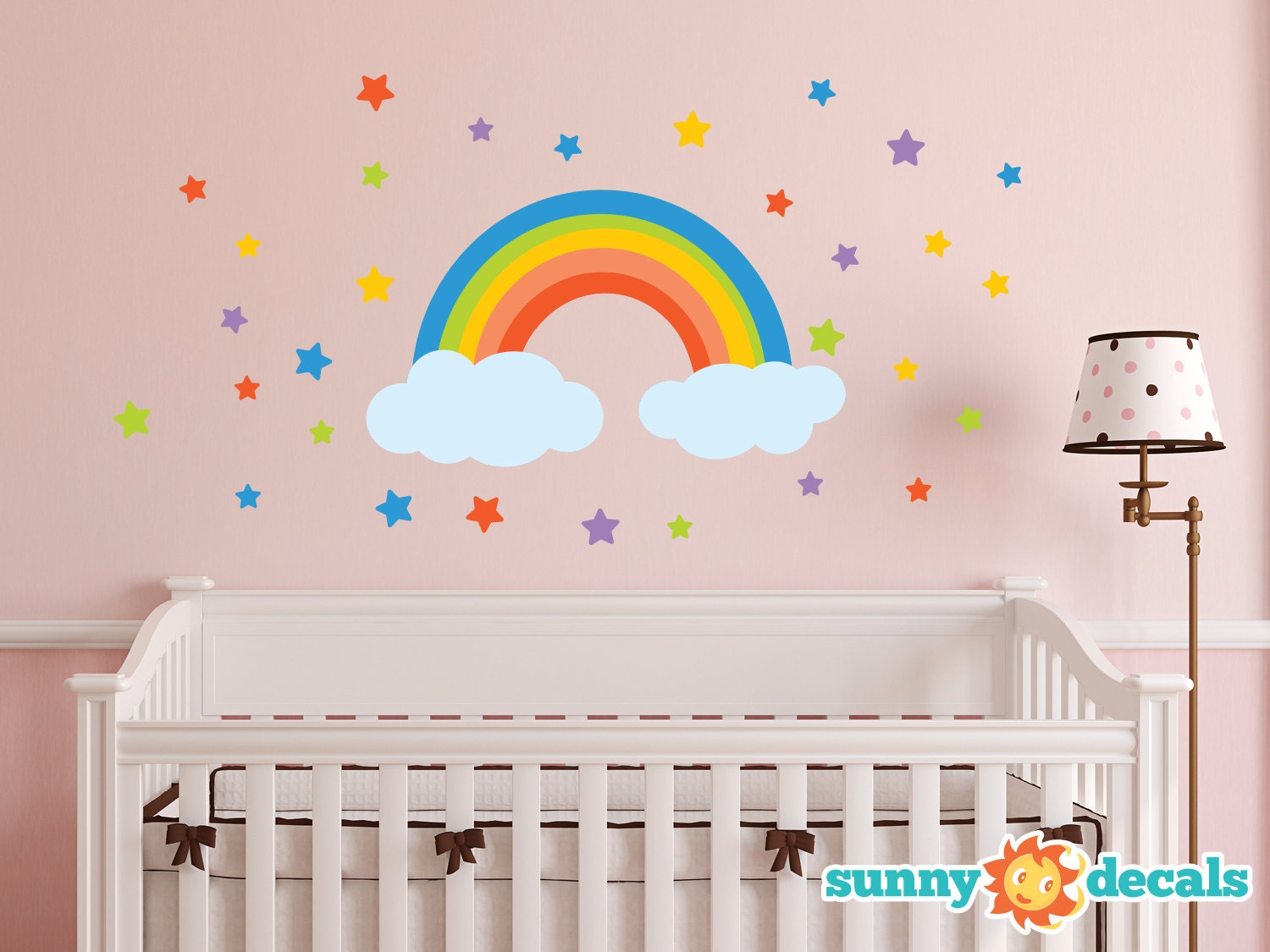 Rainbow Fabric Wall Decal Rainbow Wall Sticker With Stars And