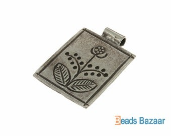 Karen Hill Tribe silver Cheerful flower pendant, 22 x 17 mm ( 1 piece )