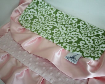 Green and White Damask Print with Pink Minky Dot Lovie Blanket Finished witth Pink Satin Ruffle Trim - Lovey, Baby Blanket, Woobie