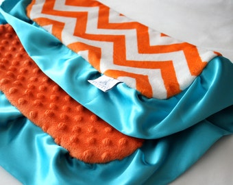Orange and White Chevron Mini Minky, Lovie Blanket with Solid Orange Minky Dot and Finished with a Teal Satin Trim, Girls, Boys, Baby