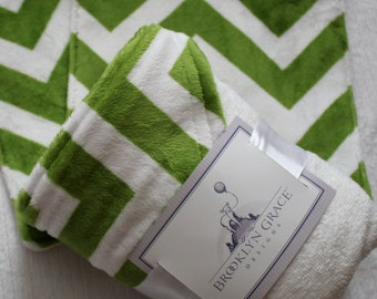 Green and White Chevron Minky Infant - Baby Hooded Towel, Navy and White Chevron, 100% Cotton Terrycloth - Nautical