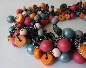 crochet necklace, neklace 'Fractals', short necklace, crocheted necklace, beaded necklace, wooden beads, lightweight necklace.
