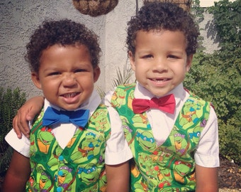 Teenage mutant ninja turtles vest and bow tie size 6 months to boys 16 FREE SHIPPING us