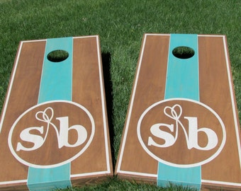 Wedding Cornhole Game by Colorado Joes Add Your Custom Monogram & Colors