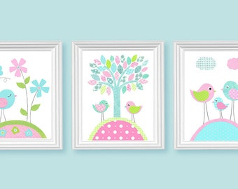 Aqua Green Pink Nursery Art Birds Flowers Tree Girl's Room Decor Playroom Baby 8 x 10 or 11 x 14 Set of 3 Prints Paper or Canvas