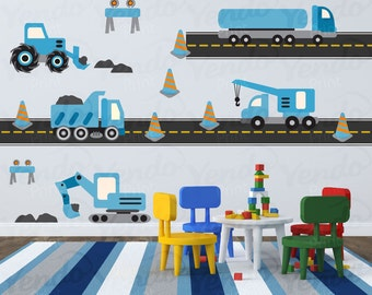 Construction Truck Decal - Fabric Wall Art - Children Wall Decals - Hard Hat Area Blue - Repositionable Wall Decals