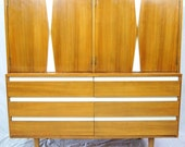 AMERICAN of MARTINSVILLE Mid Century  Beech Wood Gentleman's Chest with White Lacquer Accents