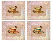 Teacups & Butterflies Gallery Collection Set of 4 Prints, 8x10,
