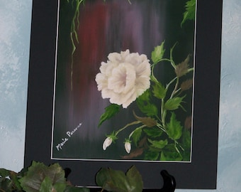 White Rose floral Art print signed 12in x 16in