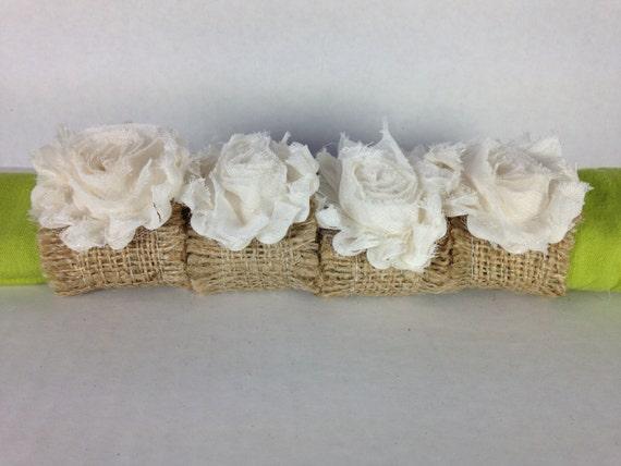 Burlap napkin ring holders with shabby ivory chiffon flower (set of 4)