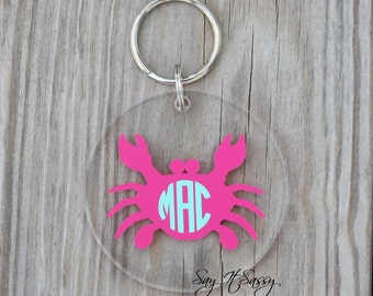 Circle Monogram Crab Keychain Acrylic Personalized Key Chain