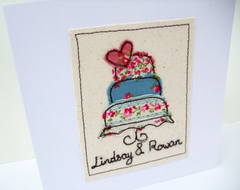 Personalised Wedding Card - Embroidered Wedding Cake - Shabby chic - Bride and Grooms names embroidered