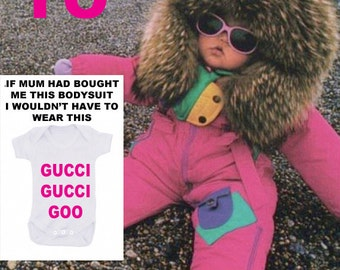 Gucci Gucci goo bodysuit why not make it snazzy using GOLD OR SILVER text
