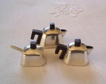Sterling silver miniature art deco tea set