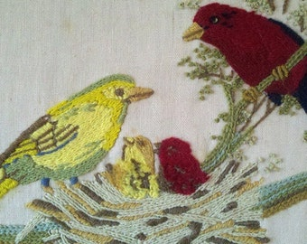 13X17 Fabric Yellow and Red Bird with nest Hand Stitched needle works Decorative Wall Hanging Art