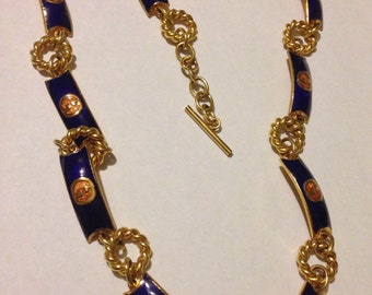 1990s Blue Enamel Gold Plated  Gucci Necklace