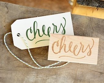 Cheers, Hand Written Calligraphy Script Rubber Stamp for Wedding, Shower, Party or Event, Personalize with Names and Wedding Date (Optional)