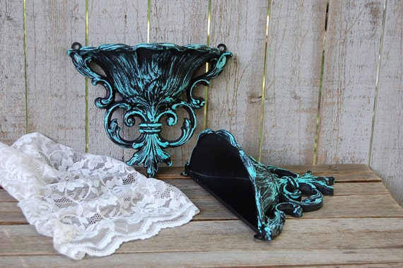 Wall Pockets Shabby Chic Aqua Black Wall Decor Ornate