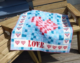 Love patchwork - A unique and versatile quilt. Valentine's Day gift.