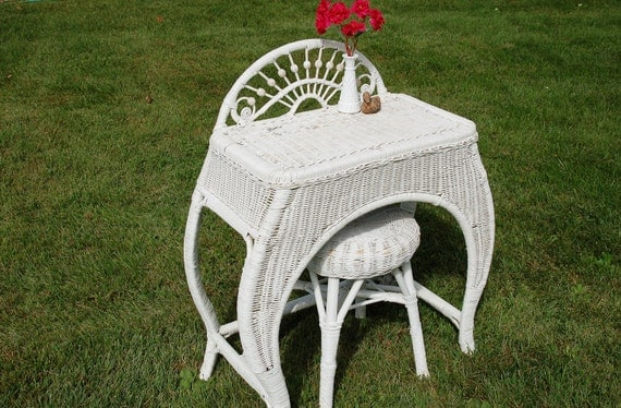 Antique Wicker Dressing Table And Stool Wicker Vanity Table