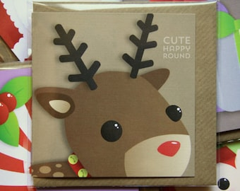 Reindeer - 'portrait' cute Christmas card by cute happy round. 90x90mm, comes with envelope