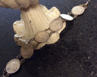 Vintage Jewelry Six Pence Bracelet Wedding for Good Luck 1950's-Nice-25% off with Coupon Code