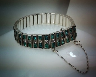 Vintage L&M sterling silver rhinestone bracelet.