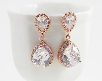 Rose Gold Crystal Earrings, Rose Gold Bridal Jewelry, Special Occasion Vintage Style Drop Earrings
