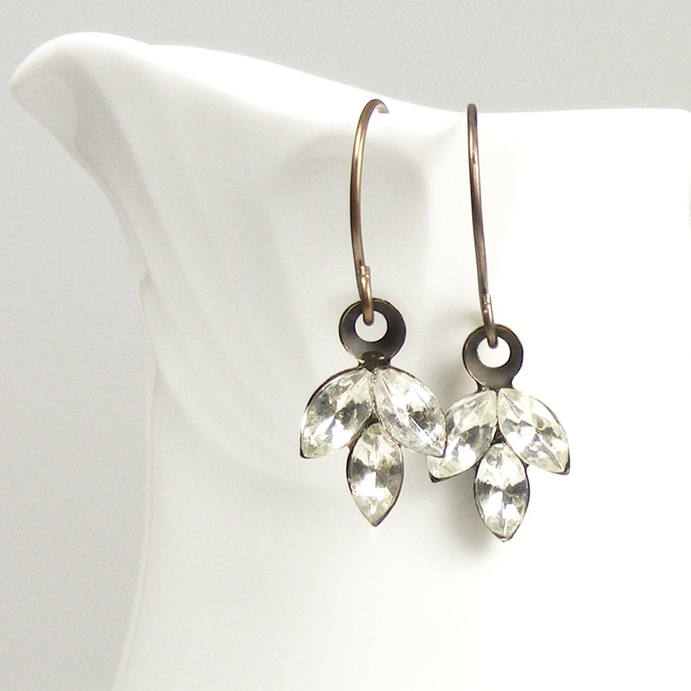 Vintage Inspired Crystal Drop Earrings, Leaf Charm Earrings with Vintage Jewels