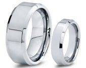 His & Hers Men Women Matching Set Tungsten Carbide Wedding Band Ring 8mm 6mm High Polished 5-15 Half Sizes Custom Engraved