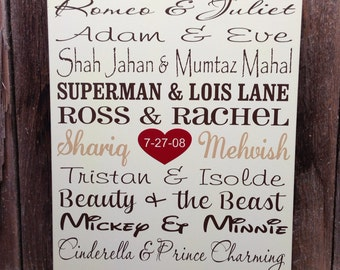 Famous Couples Wood Subway Sign 5 Year anniversary gift Wedding Personalized Wedding Gift for Couple Engagement gift for her gift for him