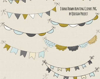 Hand Drawn Bunting Clipart Doodle bunting clipart  Scrapbook embellish InvitationBlog GraphicsPhotography Commercial Use
