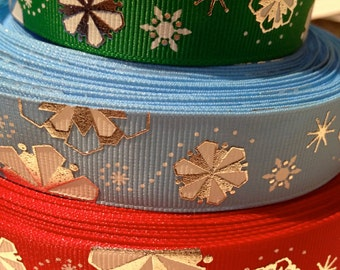 "7/8"" Metallic Winter Christmas Snowflake Grosgrain Ribbon Red Blue or Green"