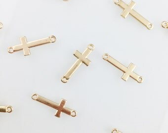 Gold Plated Medium Cross Connector Charm // Combo Bracket 2 {CG006}