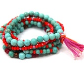 Turquoise Red Orange Pink Copper Heart Beaded Stretch Bracelets