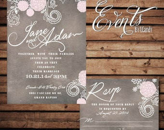 PRINTED grunge pink ranunculus invitation and rsvp