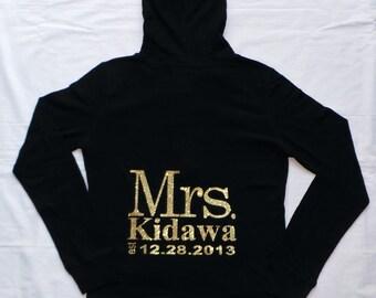 Mrs. / Last Name hoodies.Personalized date Hoodie. Zip Up Hoodie. Mrs. Hoodie. Wedding Clothing. Bridesmaid Jacket. Wedding Bridal Party.