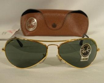 New Vintage B&L Ray Ban Air Boss Gloss Gold G-15 W2615 Orbs Aviator Sunglasses usa
