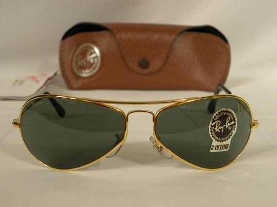 9263debcd1 New Vintage B L Ray Ban Air Boss Gloss Gold G-15 W2615 Orbs Aviator  Sunglasses